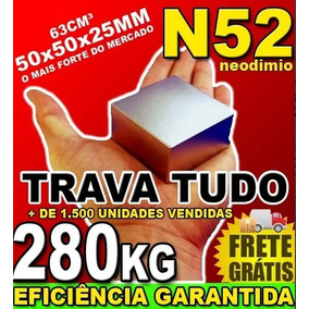 Imã Neodímio Bloco Super Forte Trava Tudo N52 50x50x25 Bloco