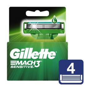 Gillette Mach 3 Sensitive Cartuchos Para Afeitar 4 Unidades