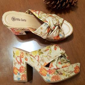Sandália Tamanco Estampada Vintage Retrô, Forma Pequena