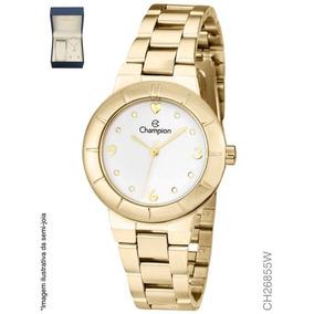 Relógio Feminino Dourado Champion Ch26855w + Colar E Brinco