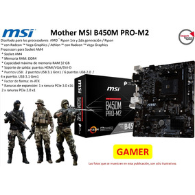 Mother Msi B450m Pro-m2 Am4 Ddr4 32gb Hdmi/vga/dvi-d Gamer