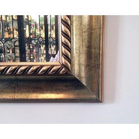 Grande Espelho Antiguo Bisotê Com Moldura Madeira Dourada