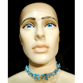 Gargantilha Colar De Aço Inox Amassado Azul Contas Bijuteria