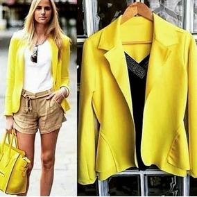 c82bac5a29 Blazer Slim Fit Feminino - Blazer Amarelo no Mercado Livre Brasil