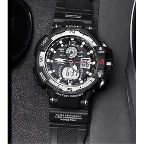 Relógio Pulso Masculino Smael Gw0029 Militar Preto Prata