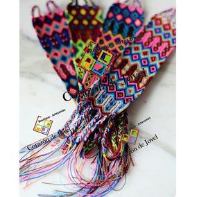 Lote 48 Pulseras Anchas Artesanales De Hilos De Chiapas (4cm