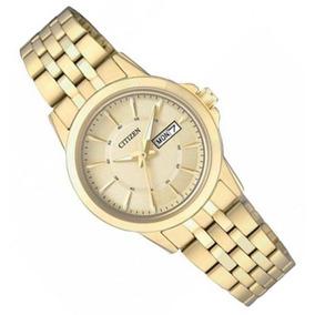 20cffd661ac Relógio Citizen Feminino Dourado Calendário Duplo Tz28422g