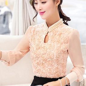 Blusa Elegante Con Perlas Falsas Y Rosas, Para Dama