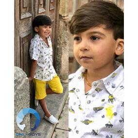Kit Camisa E Bermuda Masculina Infantil Jeans Frete Grátis