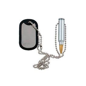 Corrente Dog Tag Plaqueta Identificação Militar C/ Projetil