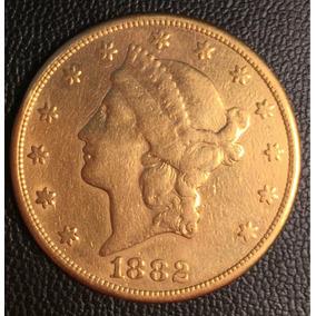 Moeda Ouro 33,22g - 20 Dólares Estados Unidos 1882 Americana