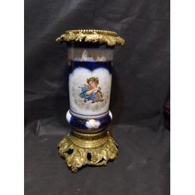 Antiguo Florero Austriaco De Porcelana