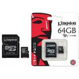 Memoria Microsd Micro + Adaptador Sd Kingston 64gb Clase 10