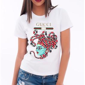 Camisa Baby Look Gucci Feminina T Shirt Moda Verão Cobra 925b5ad073927