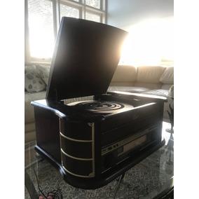 Vitrola Raveo Ópera Bt Toca Discos Rádio Fm Cd Usb