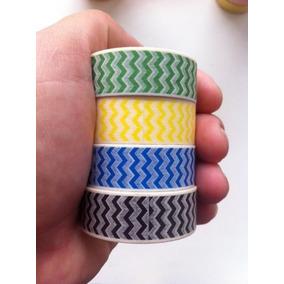 Kit 4 Washi Tape Zig Zag Chevron Preto Verde Azul Amarelo