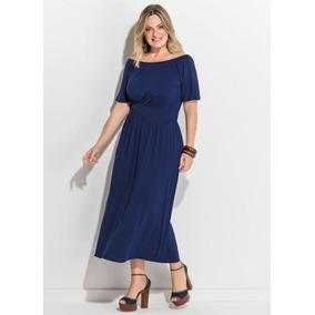 Vestido Plus Size Midi Evangélico Social Azul Marinho