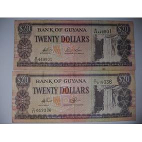 2 Cédulas Da Guiana, No Valor De 20 Dólares Cada.