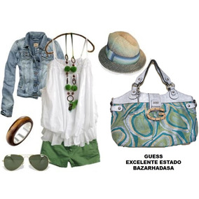 Bolsa Bolso Guess Verde Plateado Mujer Closet Bazarhadasa