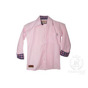 Camisa De Niño Lisa Rosa Con Combinación A Cuadros