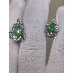Aretes Antiguos De Paladio Con Esmeraldas Y Diamantes