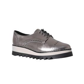 Zapato De Piel Casual Con Agujetas Folia Plata Dama