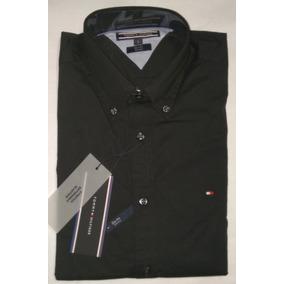 55d08b139f9 Camisa Tommy Hilfiger Color Negro Slim Fit Stretch Ajustada