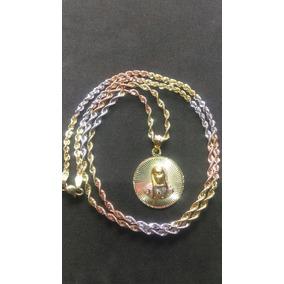 Cadena Torsal Y Medalla Virgen Oro Florentino 10 Kilates