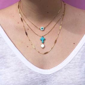 Collar Chapa De Oro Brasileña 14k Piedra Natural
