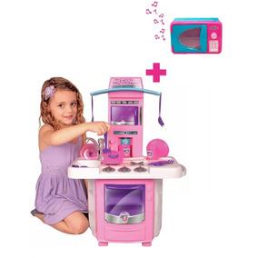 Cozinha Infantil Menina Completa + Microondas C/ Som E Luz
