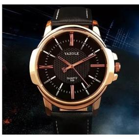 Relógio De Pulso Masculino Dourado Militar Quartzo Yazole
