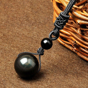 Colar Obsidiana Negra Pedra Natural 14mm