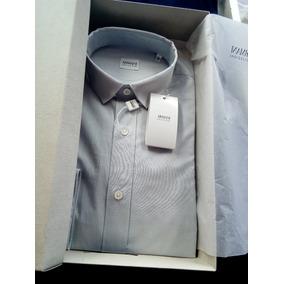 Armani Collezioni Camisa De Vestir Gris Plata Nueva Original