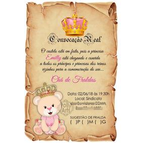Arte Convite Digital Pergaminho Ursa Princesa Urso Principe