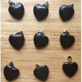 Cuarzo Ónix Ágata Negro Corazón Unisex Dije Tamaño 2cmx2cm