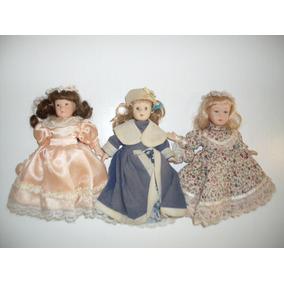Trio De Bonecas De Porcelana De Coleção Knightsbridge Dolls