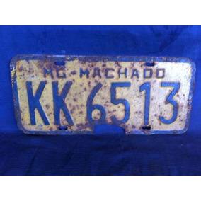 Placa De Carro Antiga Amarela Kk 6513 Machado