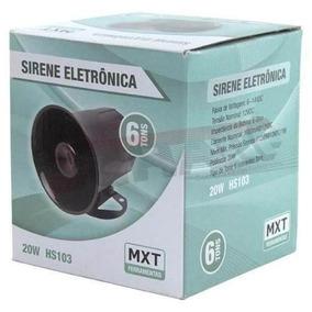 Sirene Eletrônica 6 Tons 12v 20w 116 Db Hs103 Mxt