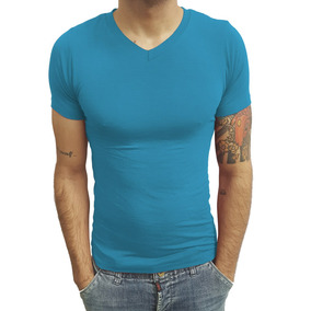 03 Camisetas Gola V Rasa Básica Slim Elastano Manga Curta