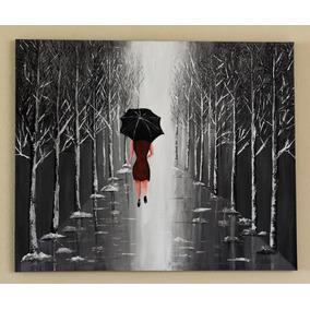 Cuadro, Pintura Acrílica, Dama De Rojo 85x70cm