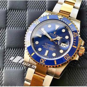 de89450d702 Relogio Rolex Submariner Dourado Mostrador Azul Masculinos ...