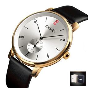Reloj Skmei 1398 Elegante Correa Piel Cuarzo Hombre