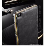 Case Protector De Lujo Cuero Aluminio P8 Huawei