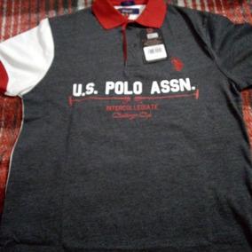 Playera Polo Ralph Lauren Gris/blanco S/ch Custome Fit