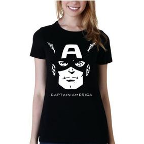 Remera De Mujer Superheroes Capitan America Mod11