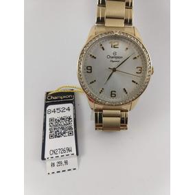 Relógio Dourado Champion Banhado Ouro 18k + Brinde