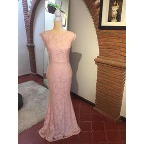 Vestidos de encaje largos color rosa palo