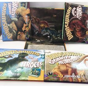 Libro 3d De Dinosaurios En 3d Troquelado , 4 Títulos