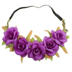 Tiara De Flores Roxa - Acessórios da Moda no Mercado Livre Brasil ea862184f59