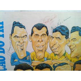 Poster Futebol - Brasil Seleção Do Tri - Autografado